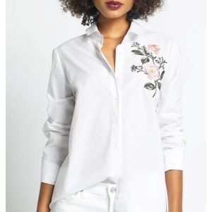 Floral Embroidered Button Up Blouse